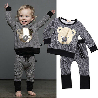 Cute 2PCS Kids Baby Boy Girls T-shirt Tops+Long Pants Outfits Set Tracksuit