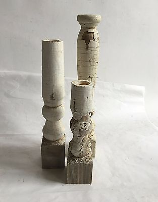 Three(3) RECLAIMED Wood Candlesticks SHABBY Candle Holders Antique White D6