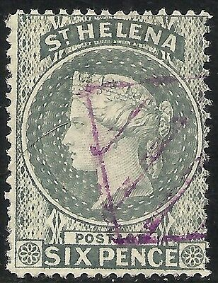 ST. HELENA: SCOTT 7 USED FINE - 1889 6p GRAY - QUEEN VICTORIA ISSUE
