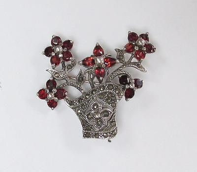 Sterling Silver Marcasite Accented Flower Brooch ~ 10.3 grams ~ 1-B8436