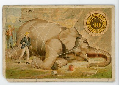 Distressed Jumbo Elephant tied with thread J & P Coats Victorian Trade Card