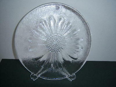 "Vintage Dartington Clear Glass Butter platter in ""Daisy"" design, with label"