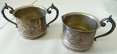 """Lot of 2 Vintage Silver Plated Cream & Sugar Set Antique Rare Silverplate 2 1/4"""""""