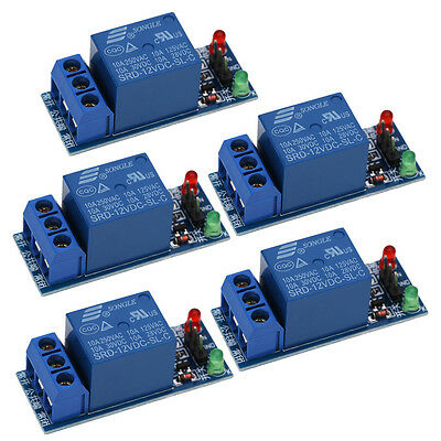 5Pcs 12V 1 Channel Relay Module Optocouple Board Shield For PIC AVR DSP ARM MCU