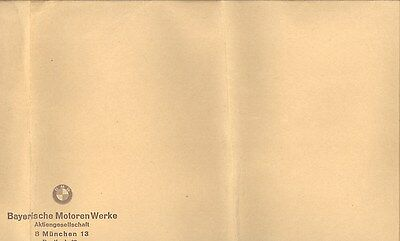 1965 1966 1967 1968 1969 1970 BMW ORIGINAL EMPTY Factory Envelope German ww3210