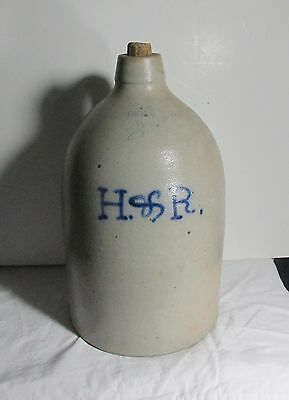 Antique Advertising stoneware jug 2 gallon size Geddes NY H&R blue letters 1800s