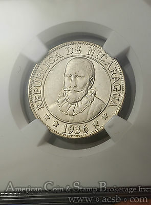 Nicaragua 25 Centavos 1936 AU55 NGC silver KM#14 Lustrous Choice White Frosty
