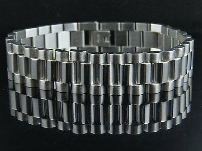 White Gold Finish Stainless Steel Presidential Solid Design Bracelet (15MM) 8.5""