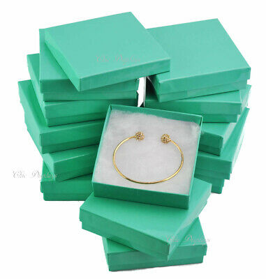 LOT OF (12) TEAL COTTON FILLED JEWELRY GIFT BOXES BRACELET BANGLE BOXES 3.5x3.5