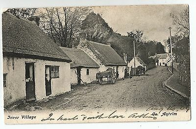 northern ireland postcard ulster irish antrim inver village posted 1904