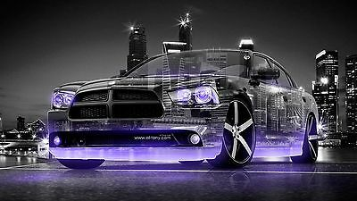 2015 Dodge Charger RT Violet Neon  24x36 inch poster or 8x10 photo