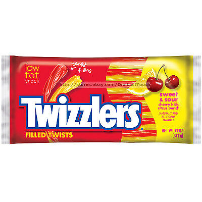 TWIZZLERS Filled Twists SWEET & SOUR Cherry+Citrus LICORICE CANDY 11oz Exp. 7/17
