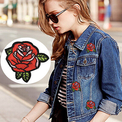 2pcs DIY RED ROSE FLOWER Applique EMBROIDERY IRON ON PATCH BADGE