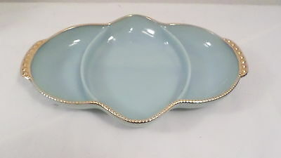 Vintage Blue Milk Glass w/ Gold Rim Fire King Ware 18 Divided Dish