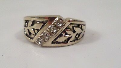 Vintage Gold w/ Black Enamel & Row of Clear Stones Ring Band Size 8 1/2