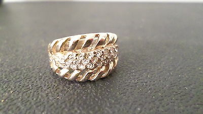 Gold & Clear Rhinestone Ring w/Cut Out Designs Size 6