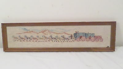 Hand Embroidered Cross Stitch Framed 20 Horse Drawn Old West Carriage 25x6.5