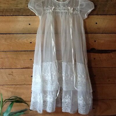 Vintage  Sheer Off White Christening Baptism Gown Dress Lace - Ribbon