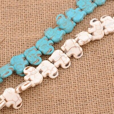 Turquoise Elephant Gemstone Spacer Loose Beads Charm Findings 15'' Strand