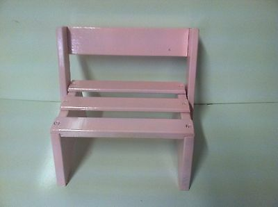 Wood Step Stool Chair Seat Children Pink
