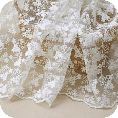 50x130 Cotton Mesh Embroidered Flower Lace Fabric DIY Dress Skirt 1018a G