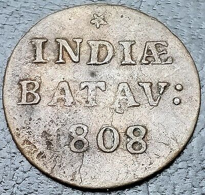 1808 Netherlands East Indies 1/16 Gulden 1 Duit Batavia KM# 76 FREE COMBINED S/H