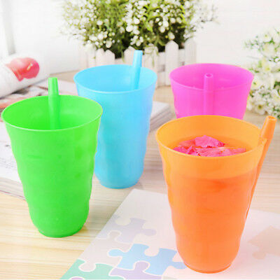 Children Kids Infant Baby Sip Cup with Built in Straw Mug Drink Home Colors