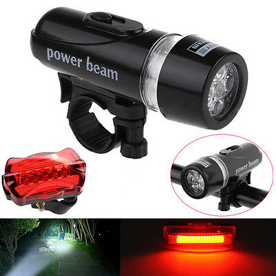 Waterproof 5 LED Bike Bicycle Front Head Lamp Light+Rear Safety Flashlight Set