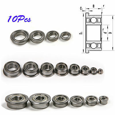 10pcs F682 to F6803 F675 to 6700ZZ Flanged Ball Bearings Metal Sealed Shielded