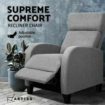 Luxury Sofa Recliner Chair Lounge Padded Linen Fabric Armchair Couch Grey