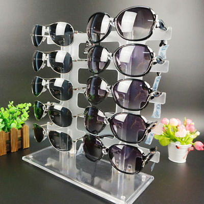 2 Row 10 Pair Sunglasses Eyeglasses Glasses Frame Display Stand Rack Holder New