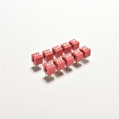 10x Red 2.54mm Pitch 3 Position Way 3-Bit Slide Type DIP Switch Module Hot FG