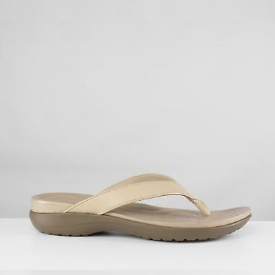 825d8036efdda Crocs CAPRI V Ladies Womens Leather Strap Summer Flip Flops Chai Walnut  Beige