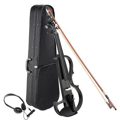 4/4 Electric Violin Full Size Wood Silent Fiddle Fittings Headphone Black