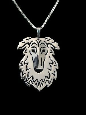 Borzoi  3D Silver pendant necklace dog collectible  Ру́сская псовая борзая C81E