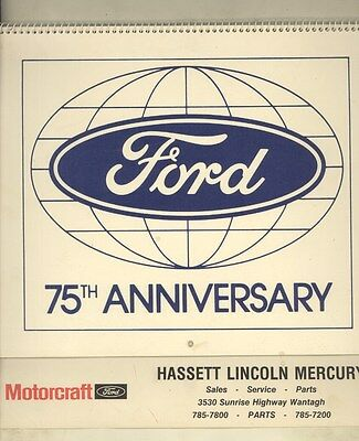 1978 Ford Lincoln Mercury 75th Anniversary Calendar Tbird Mustang Model A ww3231