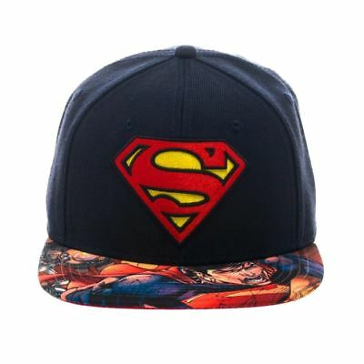 Officially Licensed DC Comics Superman Logo Sublimated Bill Snapback Cap / Hat