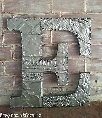 "Large Antique Tin Ceiling Wrapped 16"" Letter 'E' Patchwork Mosaic Silver  F17"