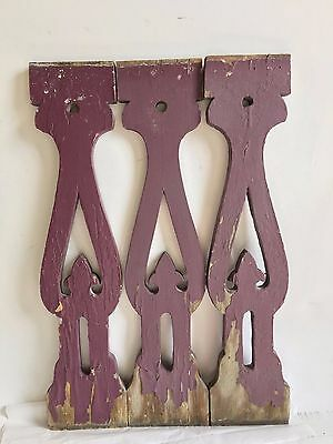 3 Antique Shabby Chippy Flat Wood Porch Baluster Decorative Gingerbread Purple