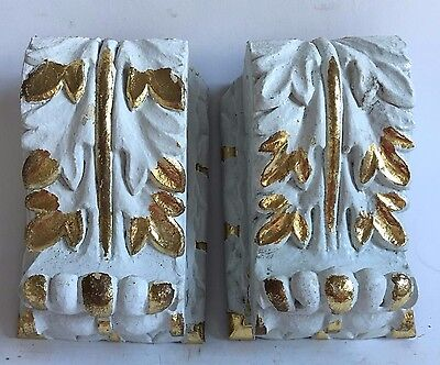 Antique Pair(2) 1890's Wood Corbels Brackets Church Montreal White Gold Guild B