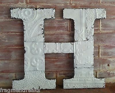 """Large Antique Tin Ceiling Wrapped 16"""" Letter 'H' Patchwork Metal Chic White T2"""