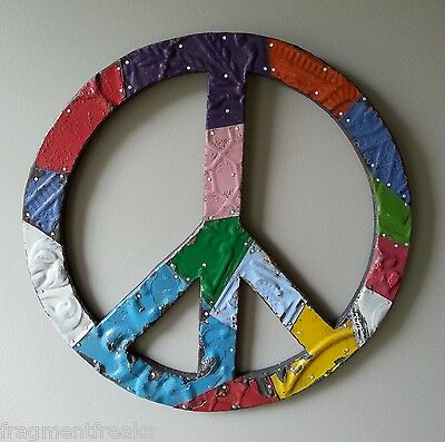 """16"""" Vintage Tin Ceiling Patchwork PEACE Sign Wall Art  Metal Multicolor"""