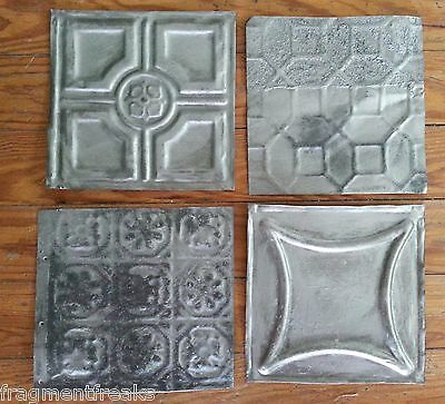 "1890's Reclaimed Antique Tin Ceiling Tiles 3- 6"" x 6"" 1- 6x6.5  Silver Q11 Chic"