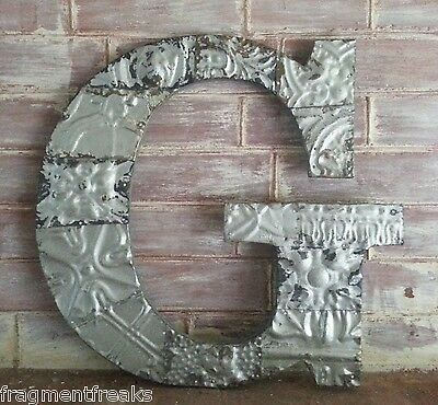 "Large Antique Tin Ceiling Wrapped 17"" Letter 'G' Patchwork Metal Silver RS2"