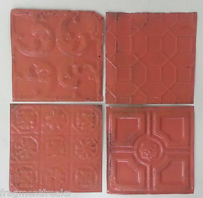 "1890's Reclaimed Antique Tin Ceiling Tiles 4- 6"" x 6"" Coral TT8 Pink"