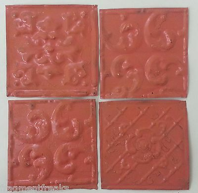 "Antique Tin Ceiling Tiles 4- 6"" x 6"" *SEE OUR SALVAGE VIDEOS* Coral TT-5 Metal"