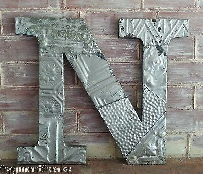 "Large Antique Tin Ceiling Wrapped 16"" Letter 'N' Patchwork Metal  Silver B13"