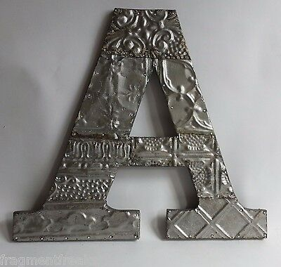 "Large Reclaimed Tin Ceiling Wrapped 16"" Letter 'A' Patchwork Metal Silver F22"