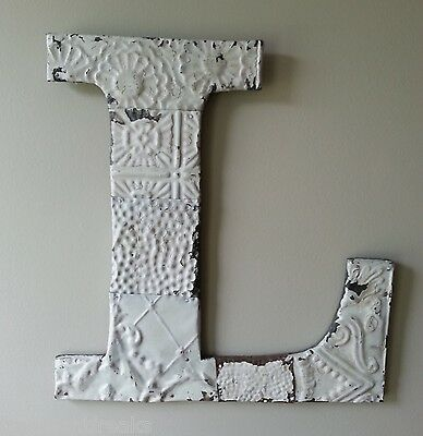 "Large Antique Tin Ceiling Wrapped 16"" Letter ""L'' Patchwork Metal Chic White B3"