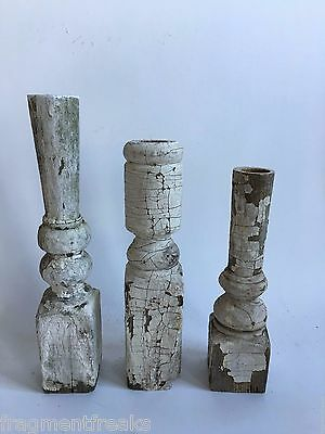 Three(3) RECLAIMED Wood Candlesticks SHABBY Candle Holders Antique White D3